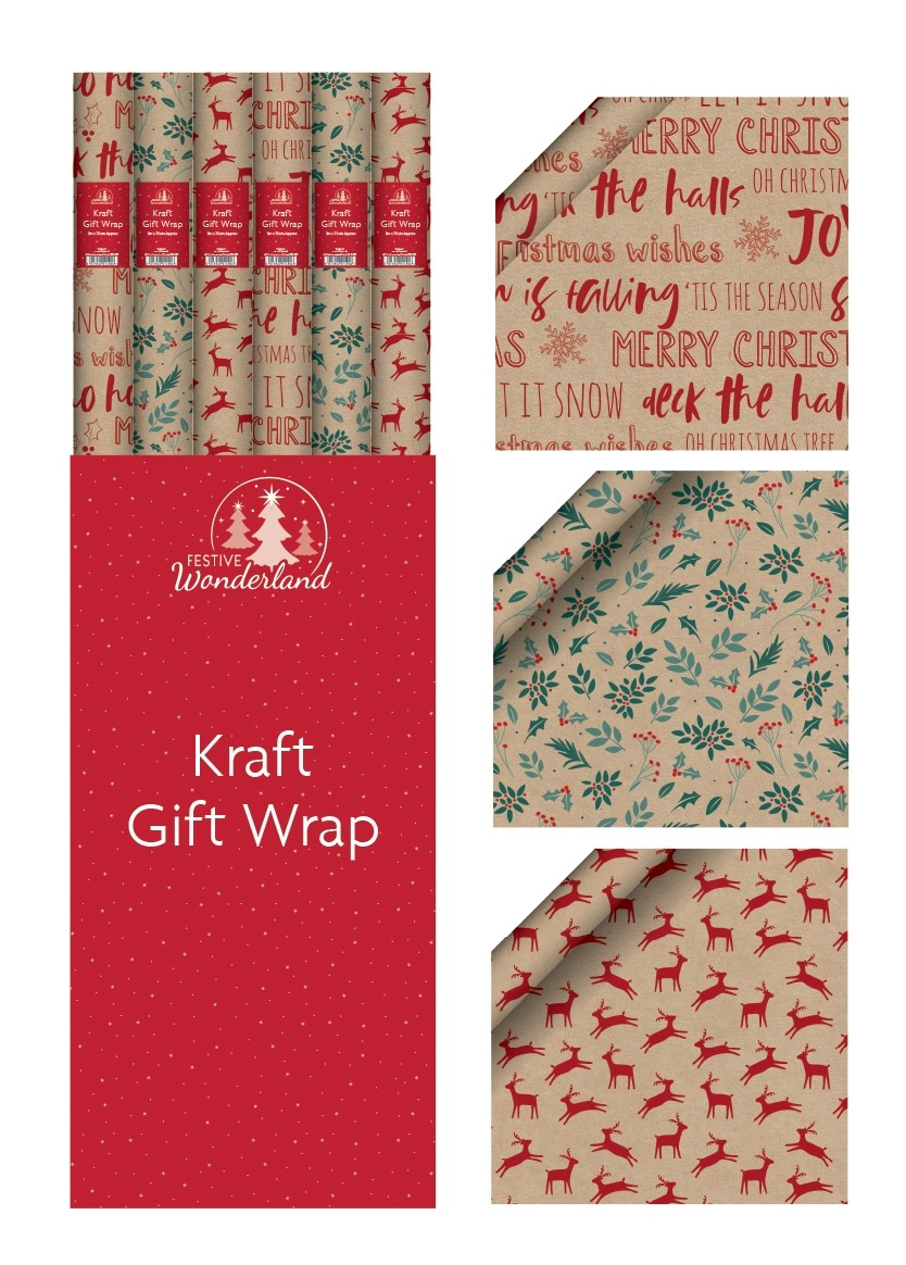 Kraft Christmas gift wrap rolls