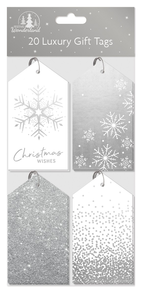 20 luxury gift tags - silver patterned