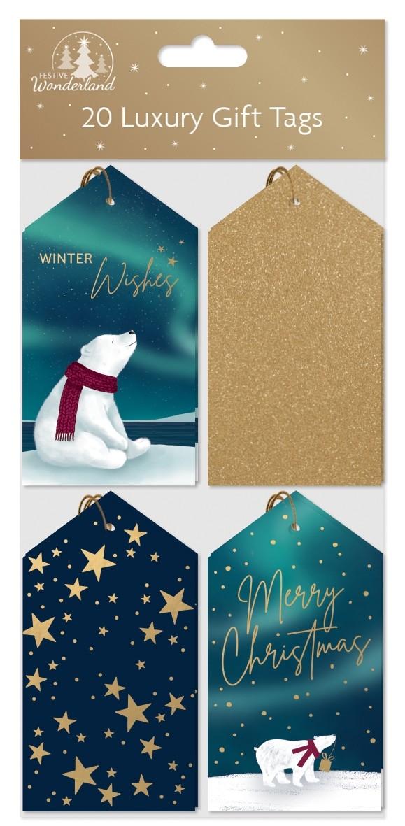 20 luxury tie on gift tags - navy / gold / polar bear