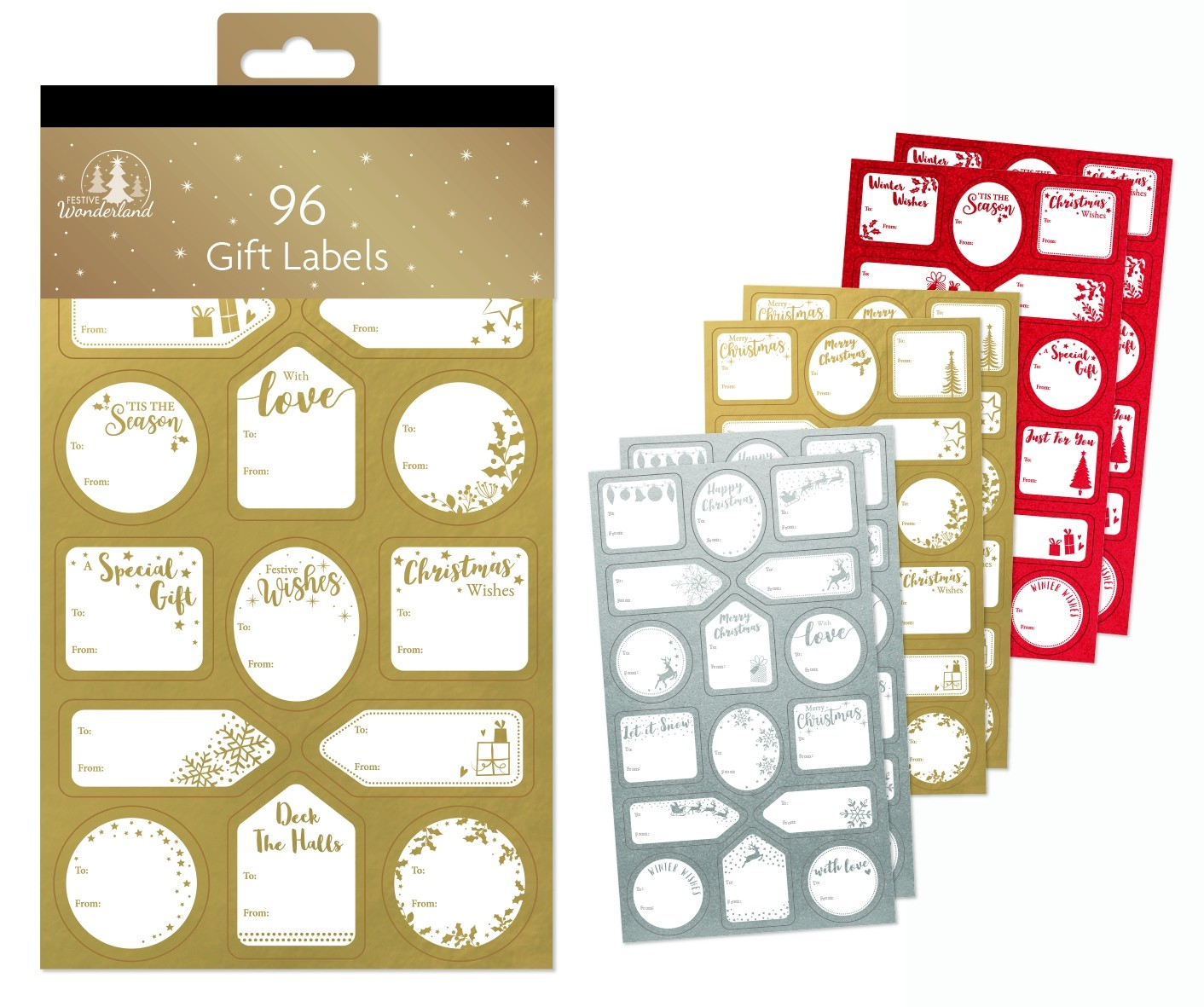 Sticker gift labels - gold, silver, red