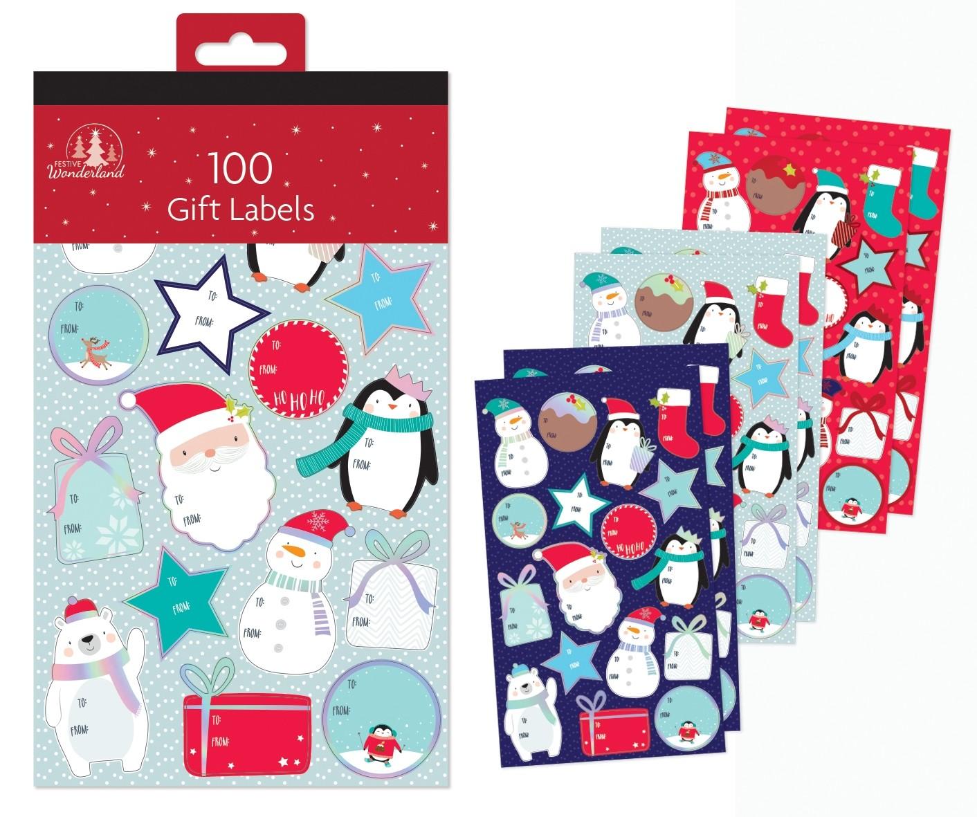 100 fun (children's) sticker gift labels