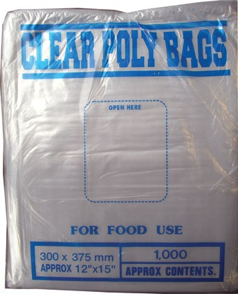 "120g clear poly bags, 12"" x 15"""