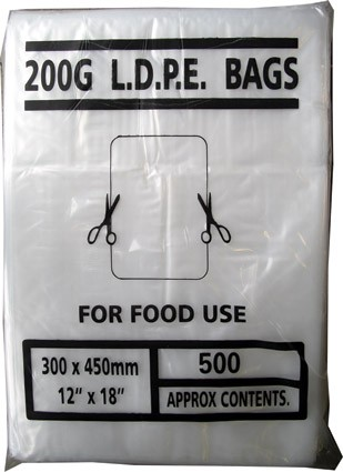 "200g clear poly bags, 12"" x 18"""