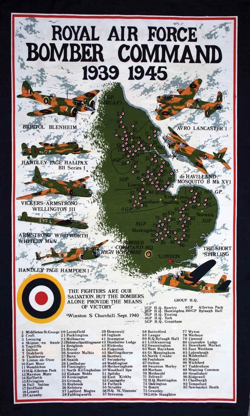 Tea towel - RAF Bomber Command
