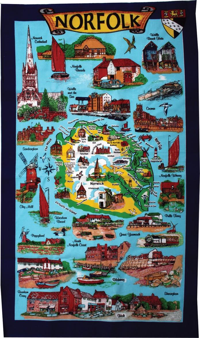Tea towel - Norfolk Sites