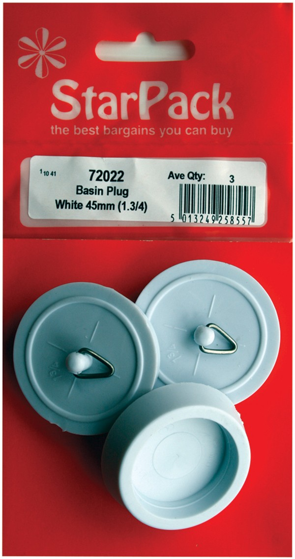 Packet of three 45mm white basin plugs