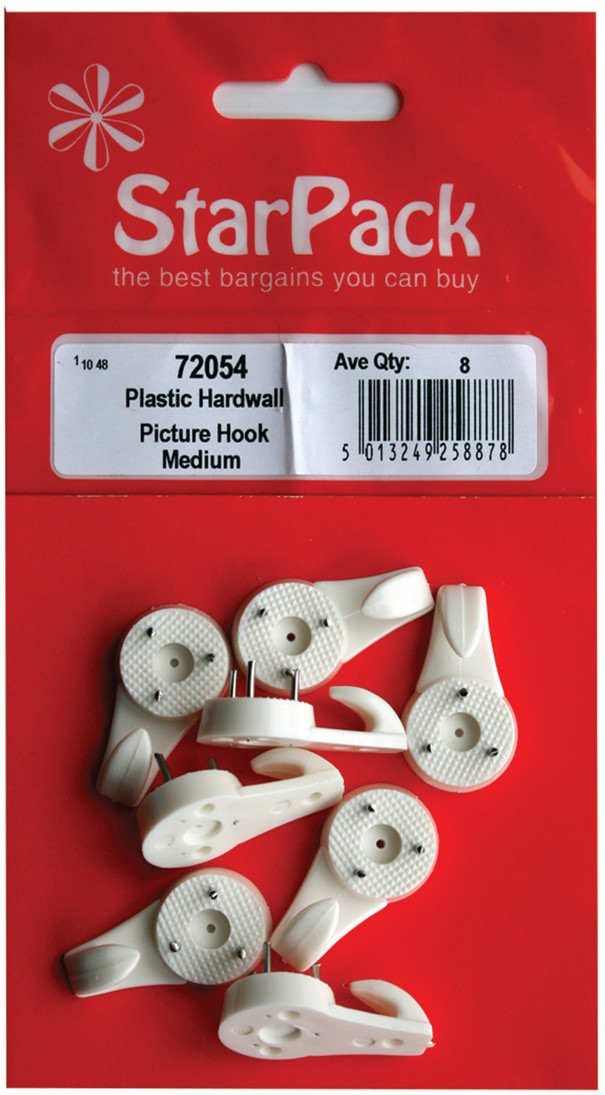 Plastic hardwall picture hooks