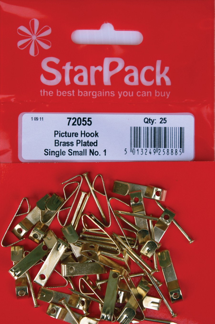 Brass plated small picture hooks