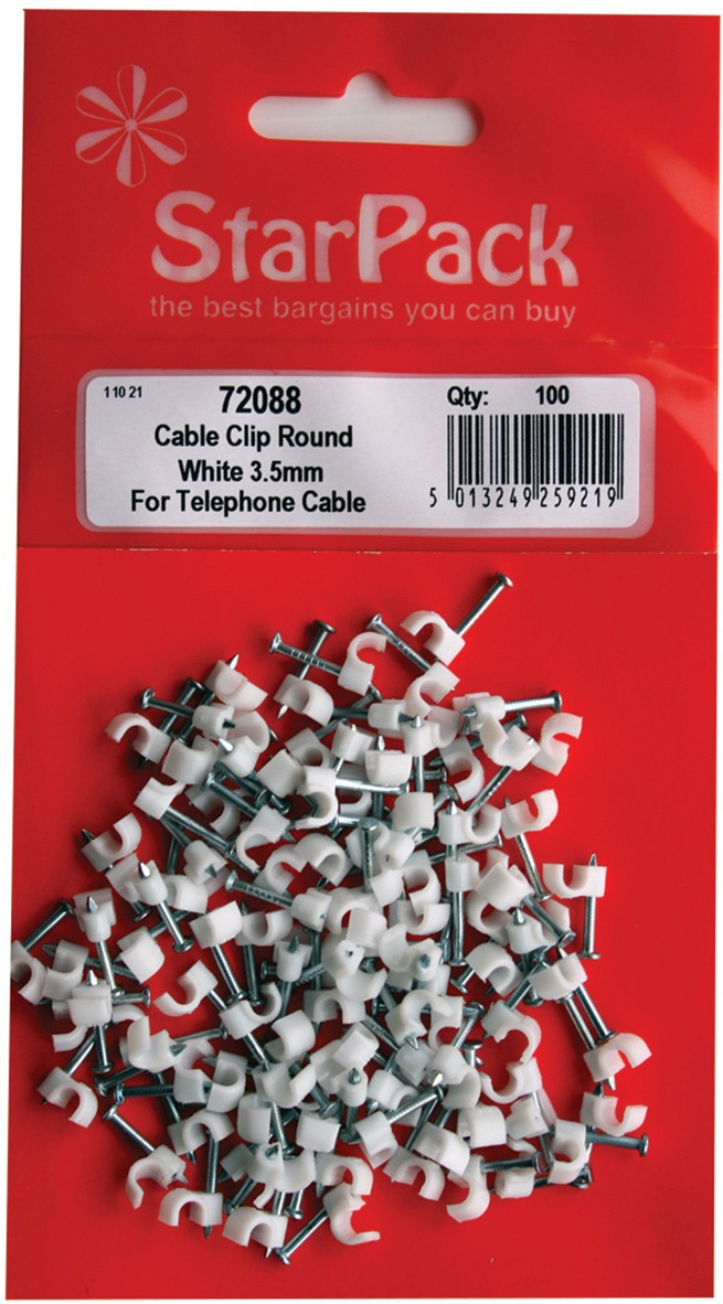 Packet of small (3.5mm) cable clips