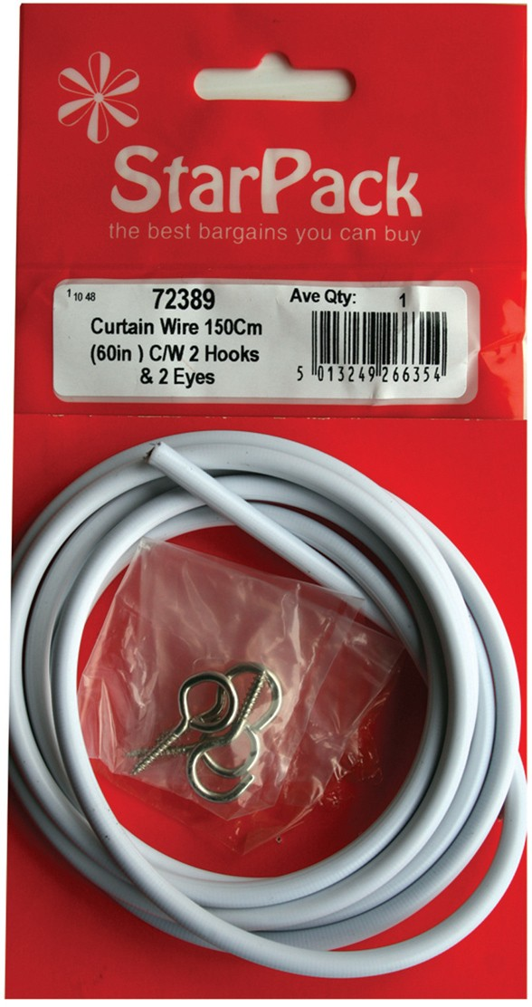 "150cm (60"") of curtain wire with two hooks and eyes"