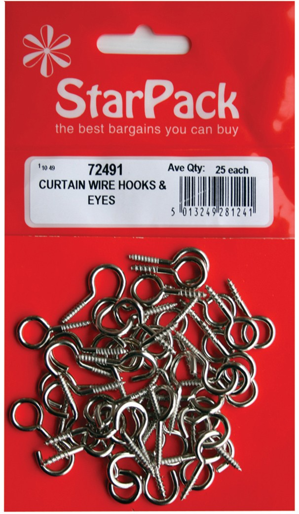 Pack of curtain wire hooks and eyes