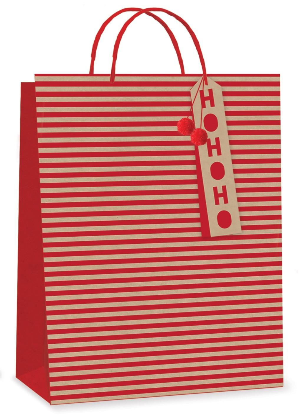 Kraft striped XL gift bag