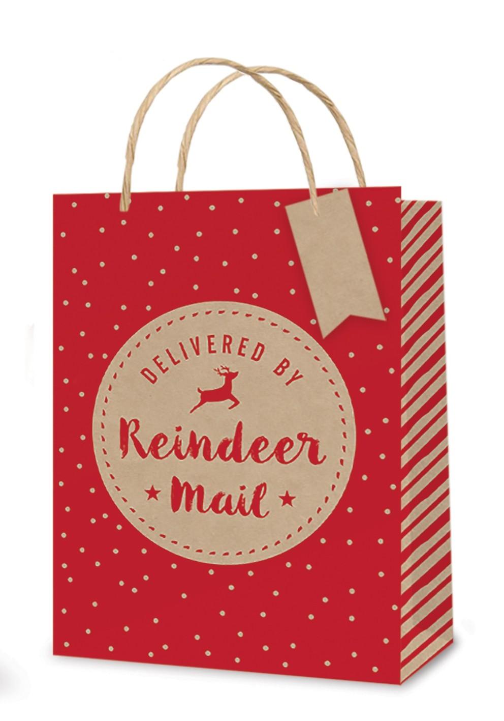 Kraft reindeer mail small gift bag