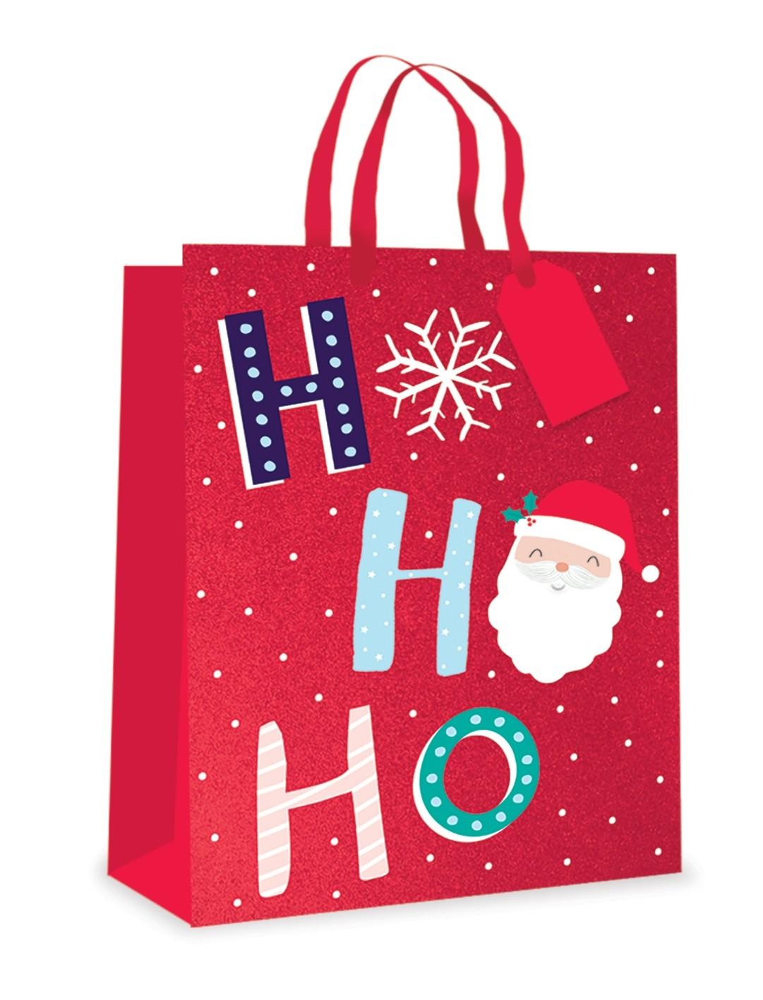 Ho Ho Ho fun Christmas gift bag - Medium