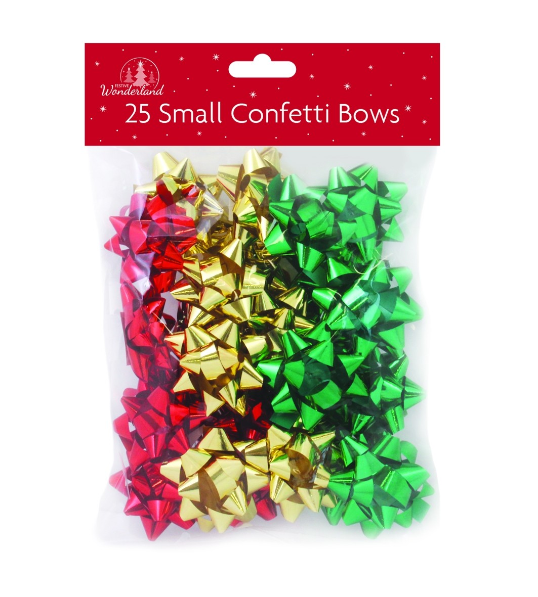 5 Christmas gift bows - red, gold, green