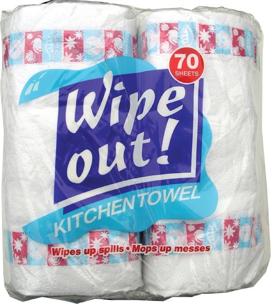 Case of six individually wrapped double packs of kitchen roll