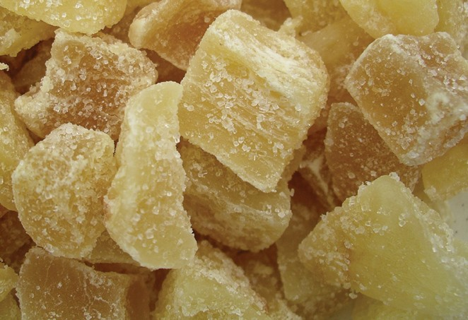 Golden Sunrise Foods.  Crystalised ginger.  Ingredients:  ginger, sugar, preservative (sulphur dioxide).  May contain nut traces.  Produce of Thailand.