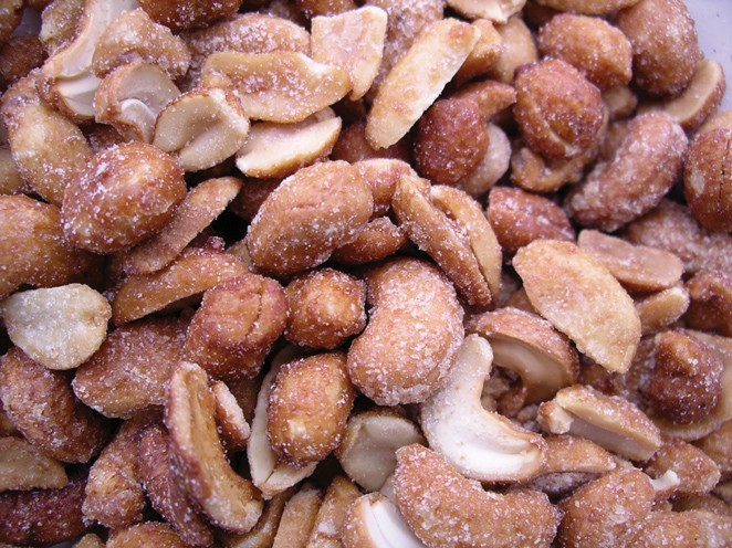 Golden Sunrise Foods.  Honey roasted cashews and peanuts.  Ingredients:  cashews 30%, peanuts 50%, vegetable oil (rapeseed), sugar, wheat starch, salt, maltodextrin, honey, lactose, stabiliser and xanthan gum.  May contain other nut traces.  Produce of ma