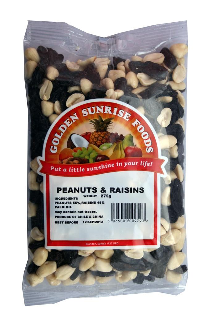Golden Sunrise Foods.  Peanuts and raisins.