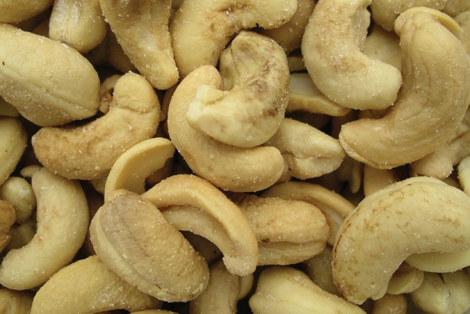 Golden Sunrise Foods.  Roasted cashew nuts.  Ingredients: cashews, vegetable oil, salt.  May contain other nut traces.