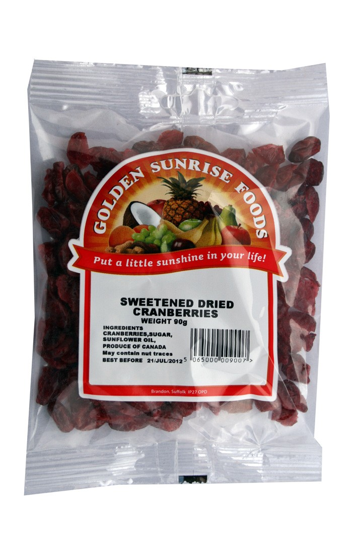 Golden Sunrise Foods.  Sweetened dried cranberries.