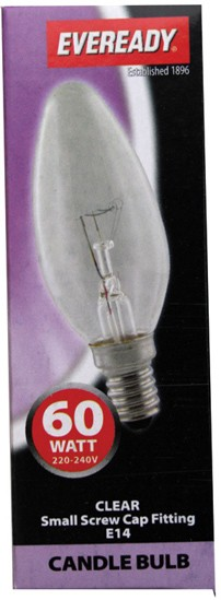 60 watt screw cap candle bulb