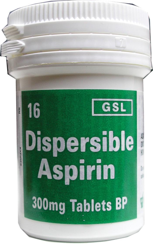Tub of 16 dispersible aspirin