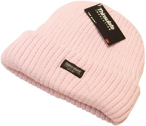Thinsulate chunky style knitted hat in assorted colours (white, pink or dusky pink)