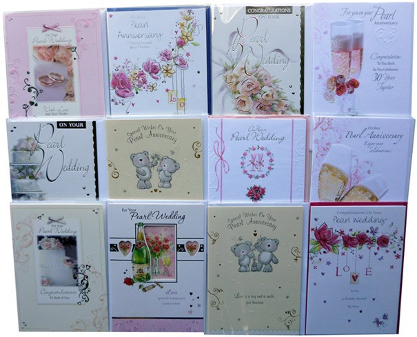 Pearl wedding anniversary cards