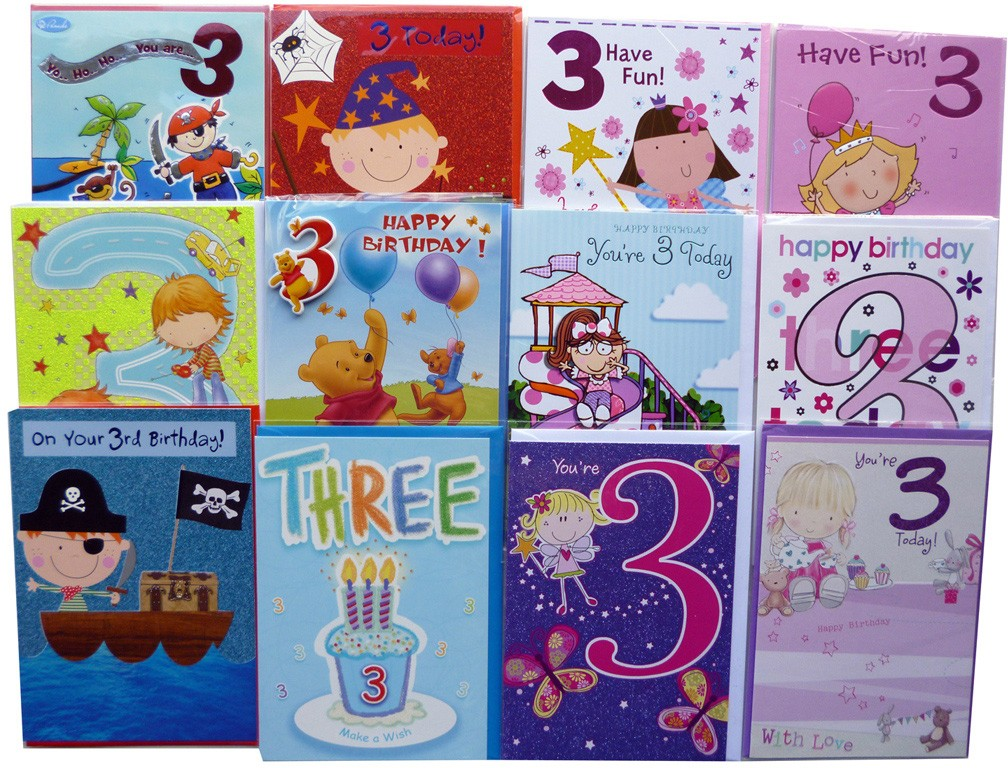 Age 3 birthday cards