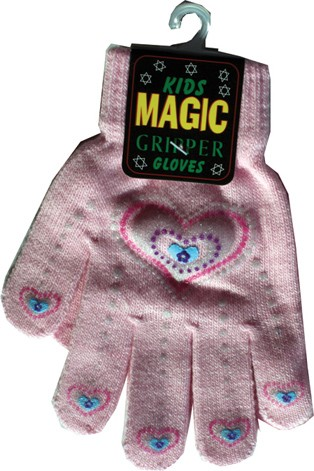 Child's magic gripper gloves with hearts design in black, pink or white
