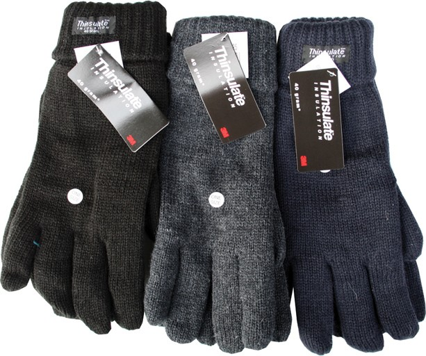 Thinsulate knitted gloves in assorted colours (black, navy, grey)