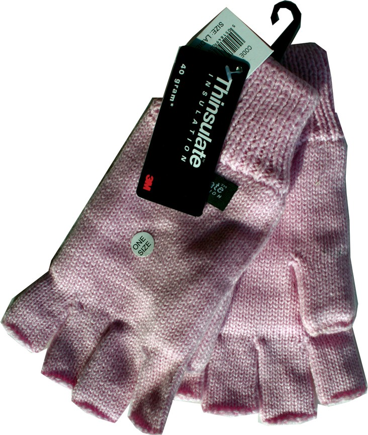 Thinsulate knitted ladies fingerless gloves in assorted colours (white, baby pink, dusky pink)