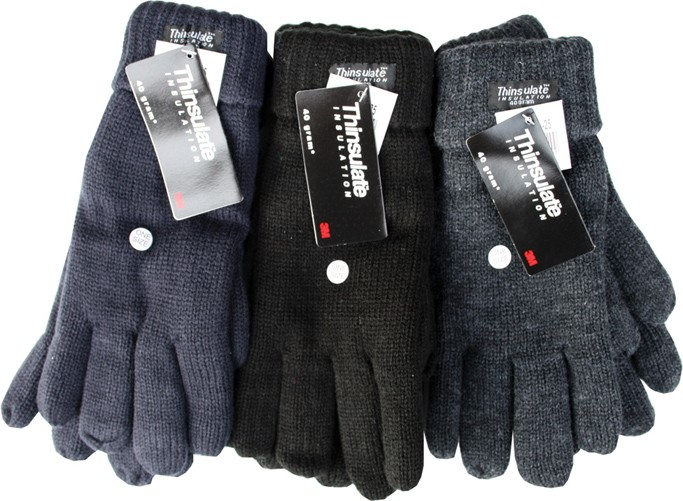 Warm knitted thinsulate gloves in black, navy or dark grey