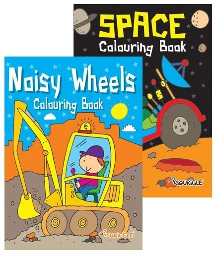 noisy wheels space colouring book