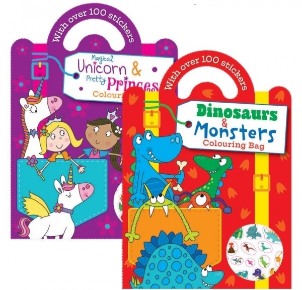 Unicorns, princess, dinosaur, monsters colouring book with stickers