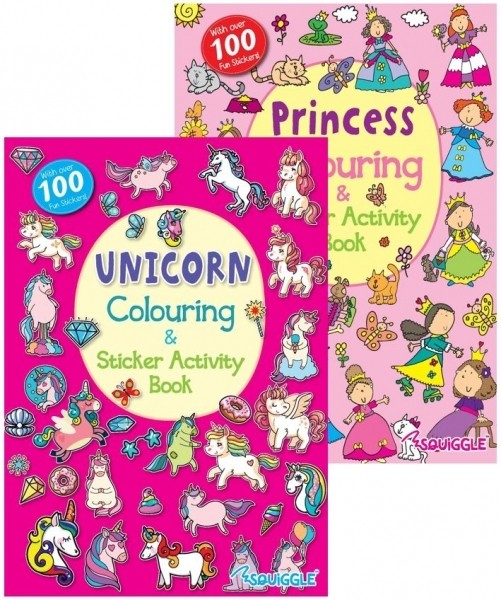 unicorn or princess colouring and sticker activity book