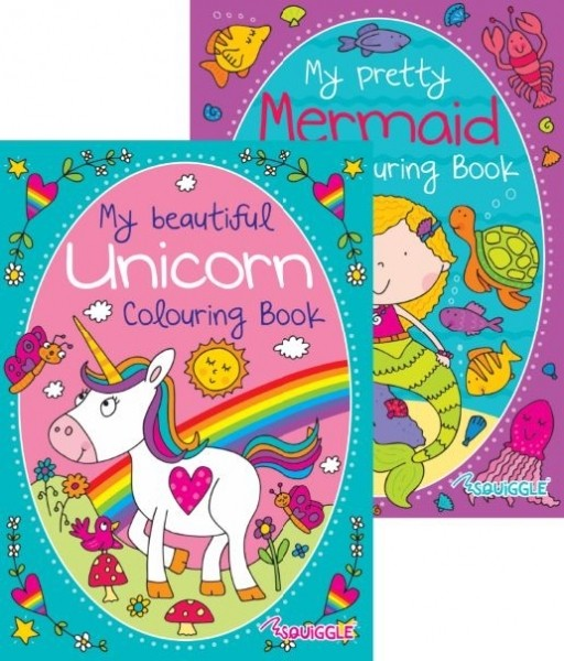 mermaid and unicorn colouring book