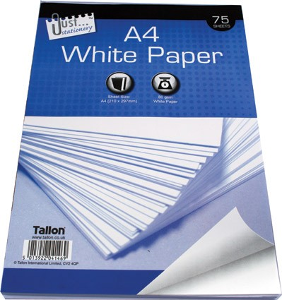 75 sheets A4 white copy paper