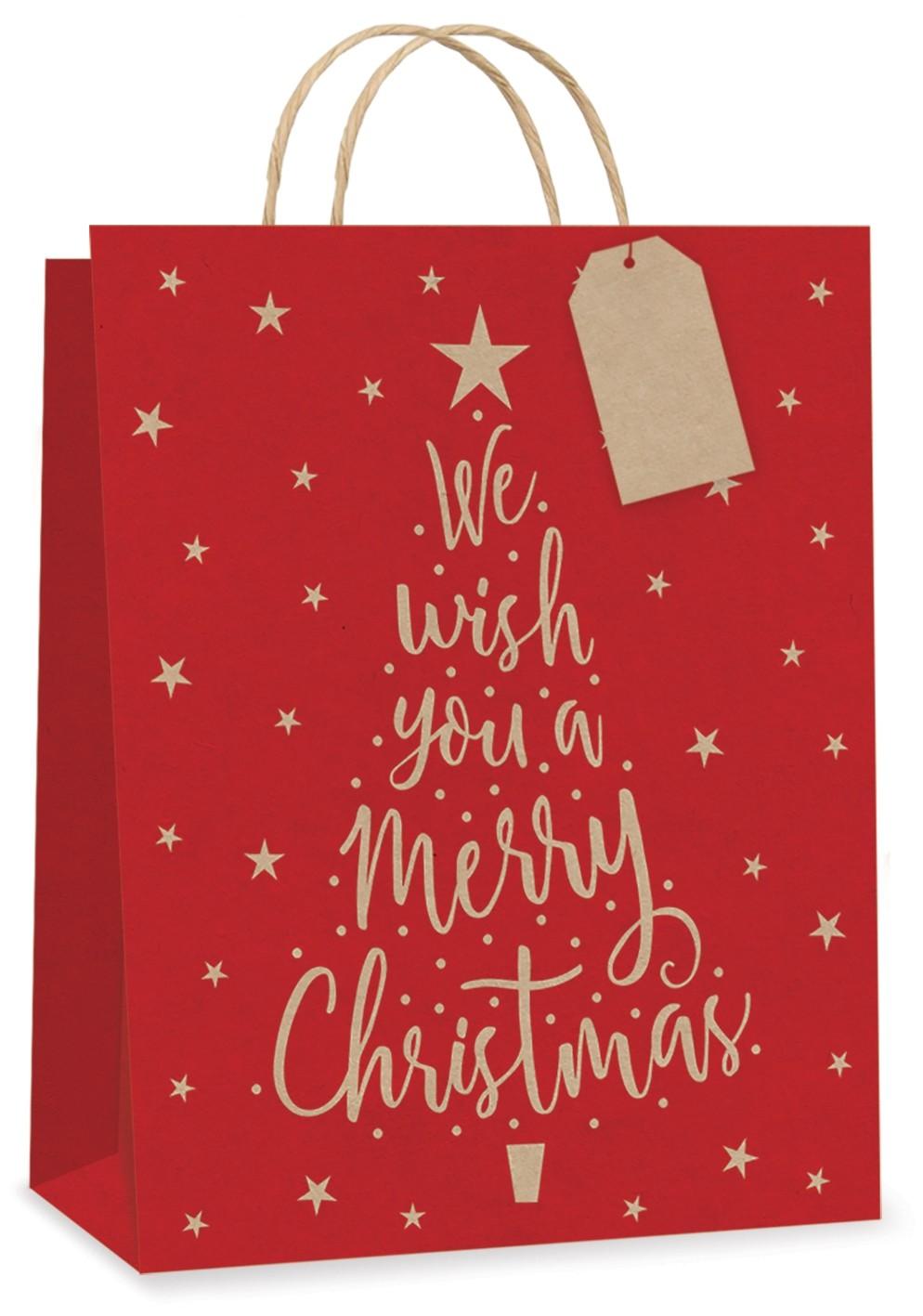 """""""We Wish You a Merry Christmas"""" Large Kraft gift bag"""