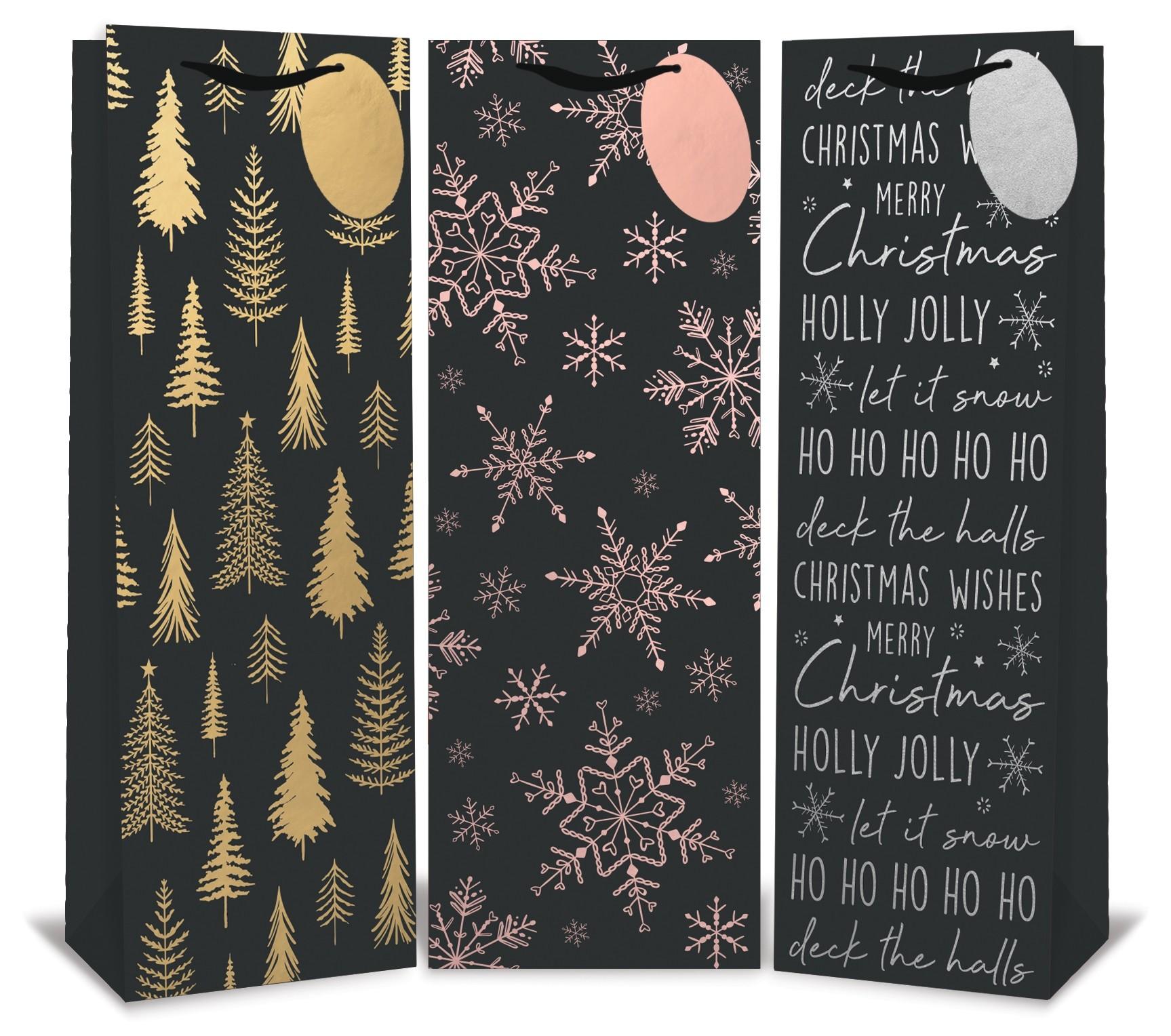 Christmas bottle gift bags - black designs
