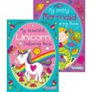 mermaid and unicorn colouring book
